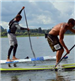 Beau and Chase on Paddleboard