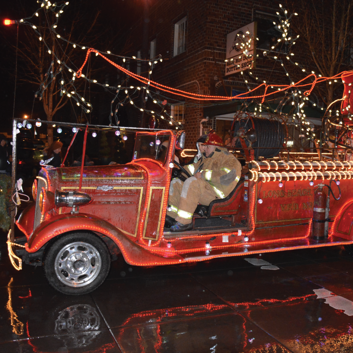Vintage fire truck with holiday lights