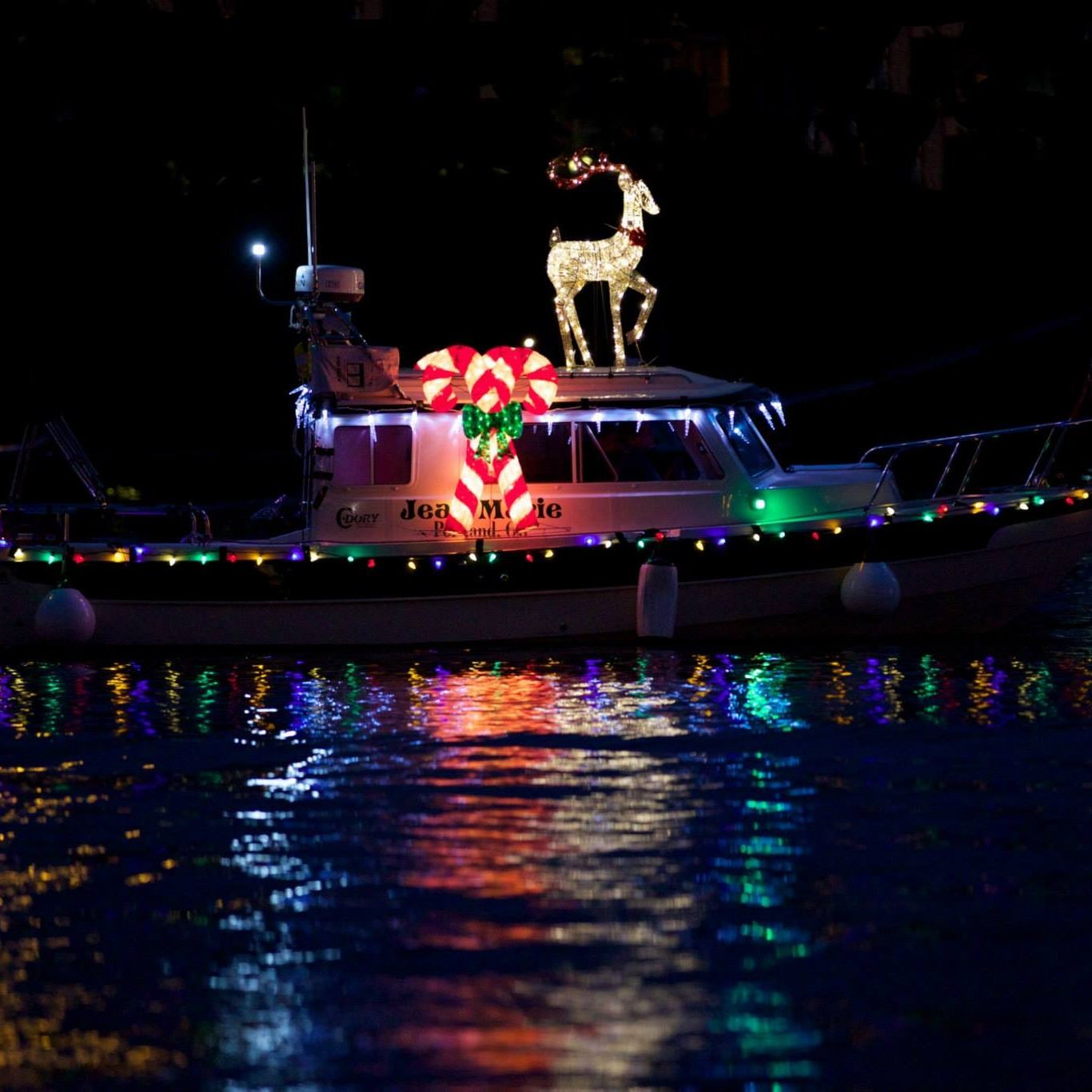 Ships lit with holiday lights on the Columbia River