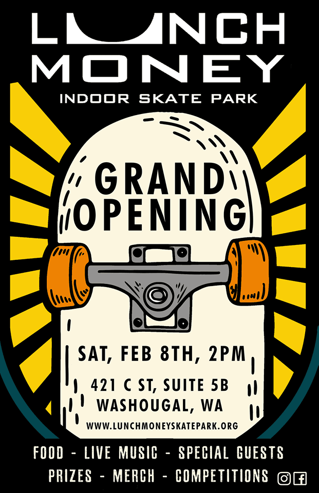 Illustrated skateboard with event information